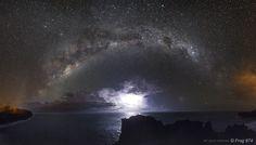 Lightnings and milky way - Reunion Island Milky Way, Maldives, Cosmos, Lightning, Northern Lights, Greece, Australia, Island, Paris