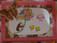 Mother's Day card I made with Margaret Sherry hedgehog stamp