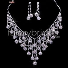Elegant With Rhinestones and Alloy Wedding Bridal Necklace And Earrings Jewelry Set - Fannybrides.com