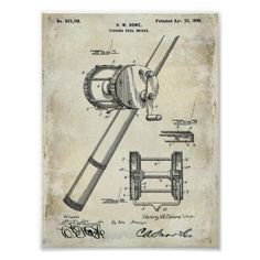Vintage Patent Hand Fishing Reel Fishin pole Gone Poster - decor gifts diy home & living cyo giftidea