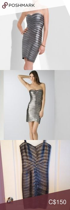 Women's BCBG Gunmetal Banded Tube Dress Dress never worn. Size XXS, tags still attached. Perfect for a New Year's Eve party! Dress is a metallic gun metal colour in a fitted banded tube style. Fashion Shoot, Fashion Models, Fashion Tips, Fashion Trends, Bcbg Dresses, Fashion Dresses, Fashion Looks, Plus Fashion, Tube Dress