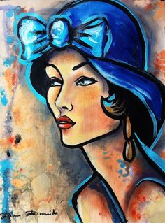 Belle demoiselle... - Painting,  30x40 cm ©2014 by Dam Domido -  Painting, Oil