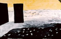 Colin McCahon - Muriwai , Necessary Proctection. Reproduced on signage overlooking the gannet colony in New Zealand Art, Venice Biennale, Modern Masters, Auckland, Visual Identity, New Art, Signage, Contemporary Art, Landscapes