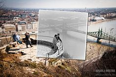 Hungarian Kerényi Zoltán photographer combines past photos made today with images. So we can be seen are parties to an amazing, it is worth the tiny details to observe, and how much the site has changed the long in decades. Photos Du, Old Photos, Vintage Photos, Photography Series, Amazing Photography, Budapest, Dear Photograph, Saint Mark's Basilica, Liberty Bridge