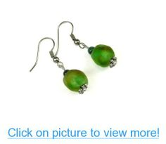 Green and Gold Ghana Recycled Glass Bead Dangle Earrings Accented with Green Agate
