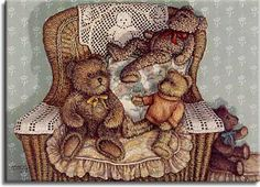 Lounging Around, a painting of three teddy bears on a cushioned wicker chair wearing a teddy bear design doily, one of the Janet Kruskamp Teddy Bear Gallery of original oils and  Original Oil Paintings by Janet Kruskamp