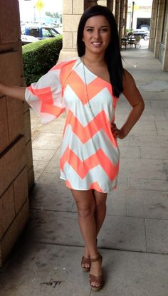 ella   scott - Coral One Sleeve Dress, $48.00 (http://www.shopellascott.com/