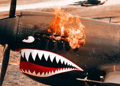 P40 Kittyhawk literally 'firing up'