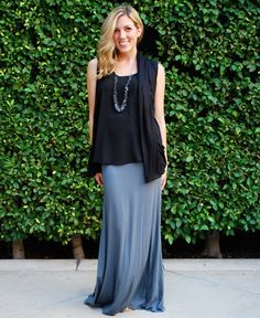 $22.99 - Solid grey maxi skirt is an awesome wardrobe basic. must have!