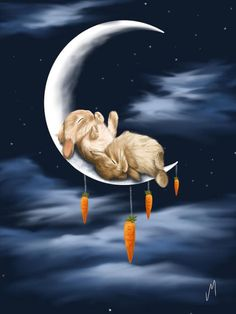 Sweet Dreams by Veronica Minozzi - Sweet Dreams Painting - Sweet Dreams Fine Art Prints and Posters for Sale Bunny Art, Cute Bunny, Adorable Bunnies, Big Bunny, Fantasy Kunst, Fantasy Art, Lapin Art, Art Mignon, My Sun And Stars