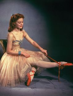 """Miss Victoria Page (Moira Shearer) in """"The Red Shoes""""."""