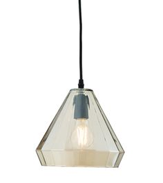 Endon Gibson 1 Light Ceiling Pendant Tinted Cognac Glass