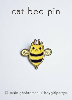 This kawaii cute pin features my original design of cat bee! This is the perfect little brooch for a cat lover or bee lover. by boygirlparty (http://boygirlparty.etsy.com) This bumble bee cat pin is metal plated with a brass colored finish and soft enamel. This particular lapel pin