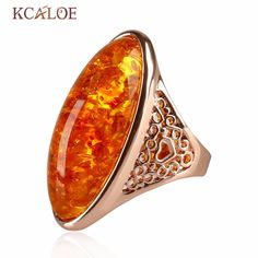 Natural Stone Yellow stone  Ring  Rose Gold Plated Jewelry Bagues Party Wedding Big Bohemian Precious Rings For Women