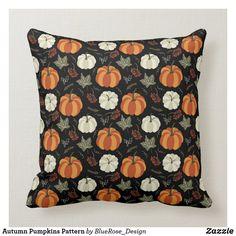 Autumn Pumpkins Pattern Throw Pillow Thanksgiving Decorations, Seasonal Decor, Custom Pillows, Decorative Pillows, Pillow Room, Cloth Napkins, Cotton Pillow, Fall Pumpkins, Colorful Backgrounds