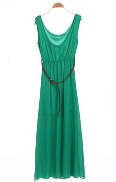 Fast Shipping World Wide  Delivery:3-7 Days  dreshe130418Q13290W3    Green Sleeveless Belt Pleated Chiffon Dress        Color :Green      Material :Chiffon      Style :Street      Neckline :Round Neck      Sleeve Length :Sleeveless      Dresses Length :Maxi      Decoration :Belt      Pattern Type...