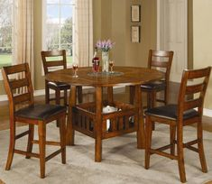 Counter Height Dining Set With Lazy Susan In Dark Oak Finish You Will Receive A Total Of 1 Table And 4 Stools