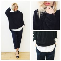 The weather today is perfect for oversized turtleneck jumpers are you in with the tucked-in-hair-trend? I AM #wuhu#ootd#jumper#oversized#lotd#black#white#navy#smile#fashion#style#scandi#outfitoftheday#happy #Padgram