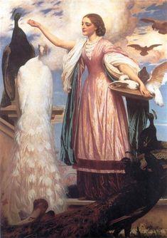 A Girl Feeding Peacocks - Frederic Leighton