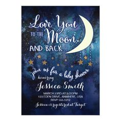 Gender Reveal Party Love you to the Moon & Back Baby Shower Invitation
