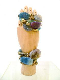 Bracelets, Pulseras, several mineral stones like Quarz, Agate and Amethyst, by Mimi Scholer
