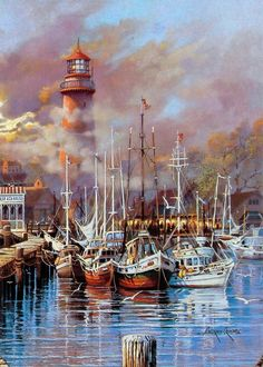 Harbor and lighthouse By Andres Orpinas City Painting, Online Painting, Oil Painting Abstract, Painting Art, City Art, Nautical Painting, Seaside Art, Lighthouse Painting, Art Watercolor