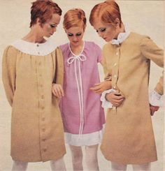 mary quant fashions, 1960s iconic mod twiggy looks vintage fashion tan shift dress pink short mini long sleeves color photo print ad models