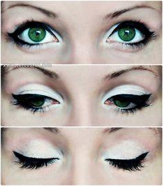 White eyeshadow, eyeliner, and mascara