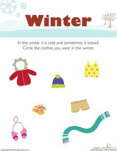 Preschool Weather & Seasons Worksheets: What Do You Wear in the Winter? Seasons Worksheets, Seasons Activities, Pre K Activities, Weather Activities, Preschool Weather, Preschool Science, Preschool Lessons, Preschool Worksheets, Preschool Ideas