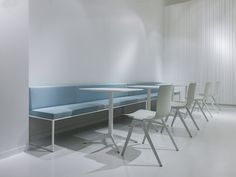 A-Chair from Davis Furniture - shown with Modo Bench and Mez Tables