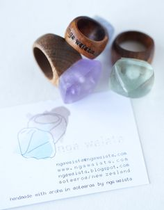 Wood & glass rings by Nga Waiata