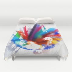 Dancing Peacock  Duvet Cover by Gréta Thórsdóttir - $99.00 #peacock #birds #artist #watercolor #color #pencils #crayons #kids