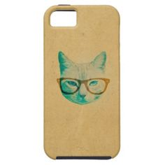 Funny Cool Cute Hipster Cat Thick Framed Glasses
