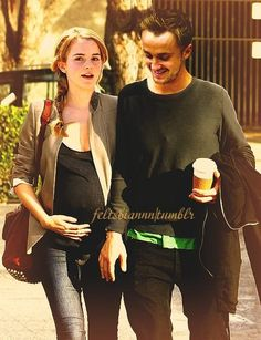 Hermione pregnant with Scorpius and walking with Draco after having coffee with Blaise and Ginny