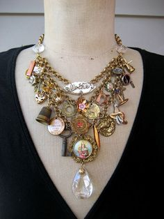 Vintage Repurposed Charm Necklace Victorian Steampunk Necklace by rebecca3030.etsy.com $189.00