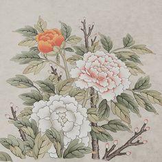 """좋아요 36개, 댓글 3개 - Instagram의 그림그리는수학샘(@kyunganoh)님: """"모란도 그리기 잎맥은 선생님이. 열심히 배워서 큰그림에 도전하자. . #민화#모란도#취미미술#그림#한국화#꽃그리기"""" Korean Painting, Chinese Painting, Korean Art, Asian Art, Vintage Seed Packets, Peony Painting, Chinese Patterns, Beautiful Flowers Wallpapers, Antique Prints"""