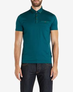Grosgrain cotton polo shirt - Teal | Tops & T-shirts | Ted Baker UK