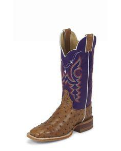 Women's Cognac Vintage Full Quill Ostrich Boot - L8507