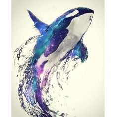 Diamond Painting Orca Water Color Kit - Diamond Painting Orca Water Color Kit Offered by Bonanza Marketplace. Orca Tattoo, Whale Tattoos, Animal Tattoos, Arte Orca, Orca Art, Art Aquarelle, Watercolor Art, Orca Kunst, Killer Whales