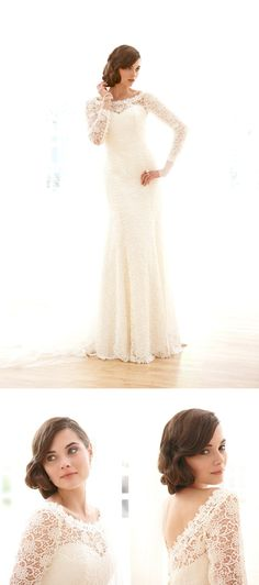 long sleeved lace wedding dress sassi holford - Google Search