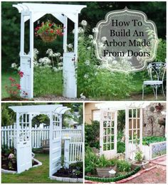 Arbor Made From Old Doors ... awesome! & Pink Postcard*: how we built our vintage door arbor. For the testing ...