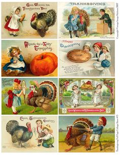 Vintage Thanksgiving postcards... possibly use for wooden block decoupage project.