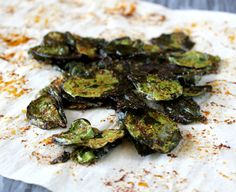 Spinach Chips!  350* for 8-10 minutes depending on size/oven