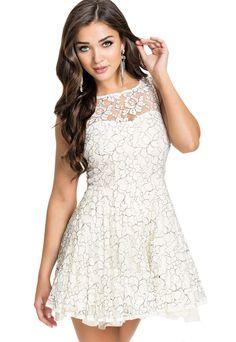 White Pretty Lace Princess Skater Dress