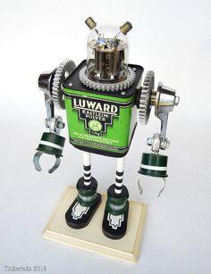 LUWARD - Lime Green - Robot Sculpture- Robot Art- Assemblage Sculpture - Tinkerbots - Steampunk - Geek gift - kids room decor - Dan Jones