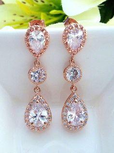 Bridal Earrings High Quality Halo Rose Gold by JCBridalJewelry