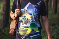 Nature themed  tshirt for men by ZIBtextile on Etsy