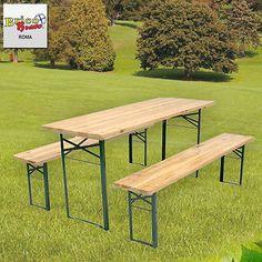 Set birreria in legno tavolo con 2 panche 220x70xH75 cm richiudibile MOB0146