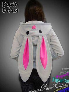 Bunny Hoodie Animal lolita cotton ear gray pink kawaii. $70.00, via Etsy.