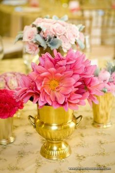 Hot Pink Dahlias in Gold Vases - Chris Humphrey Photographer - The French Bouquet Bright Flowers, Pink Flowers, Gold Vases, Table Flowers, Tulips, Dahlias, Wedding Centerpieces, Pink And Gold, Wedding Events